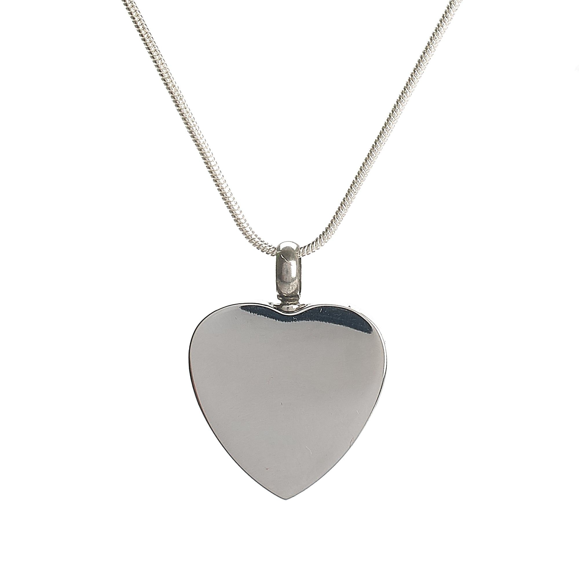 Cremation Pendant - Blank Silver Engrave-able Heart