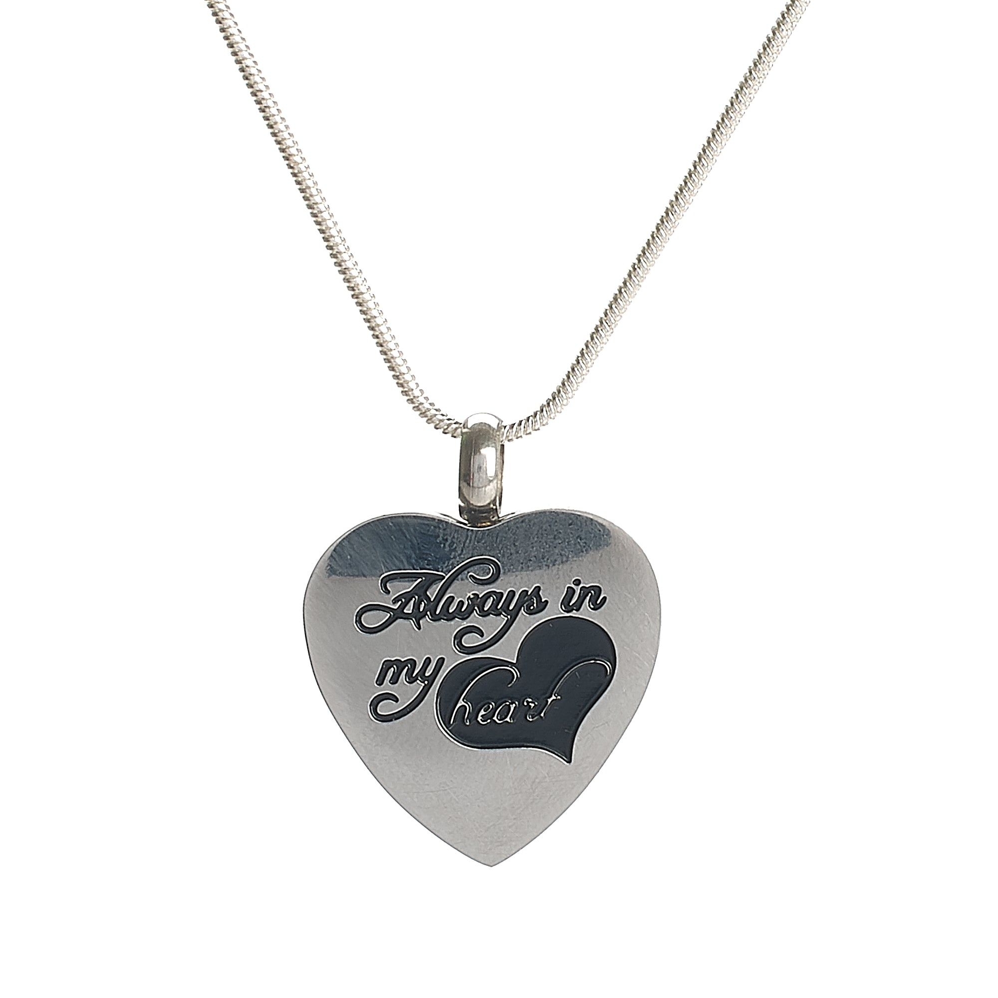 "Cremation Pendant - Silver Heart ""Always in my Heart"""