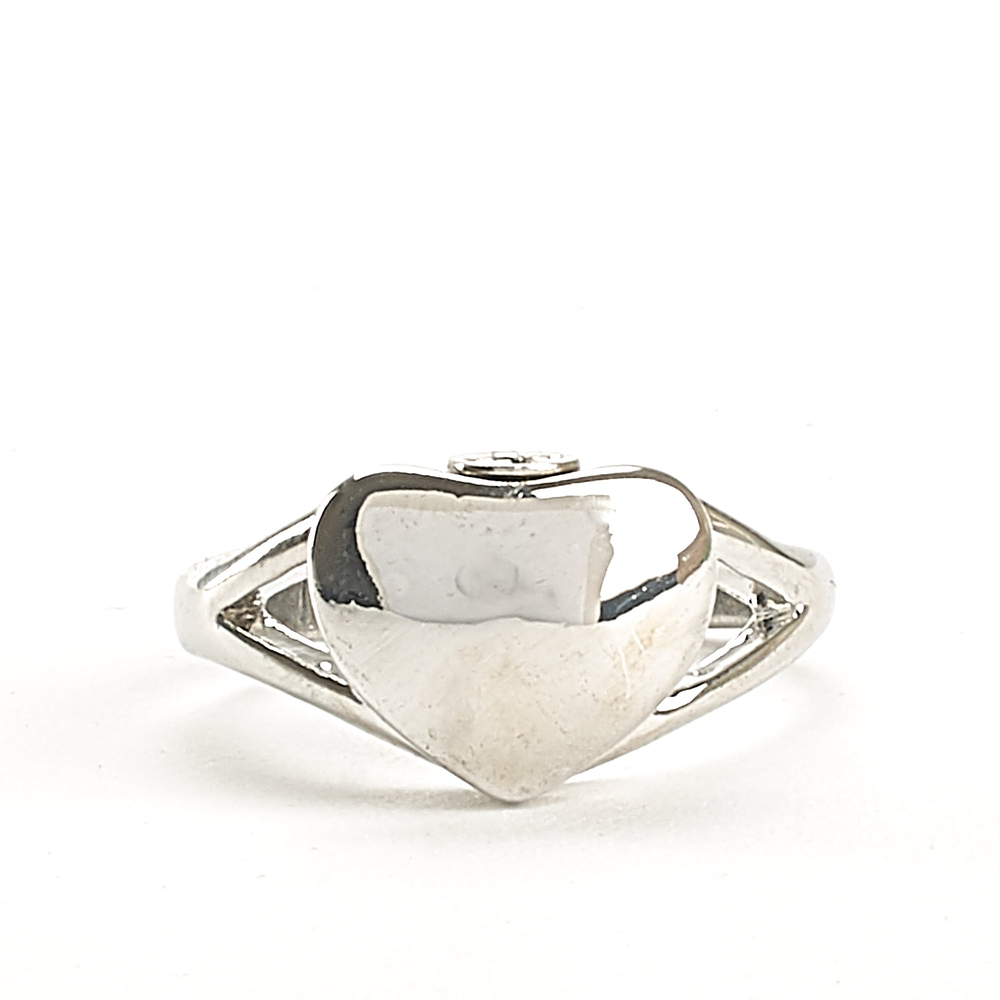 Cremation Ring - High Shine Heart - Engravable