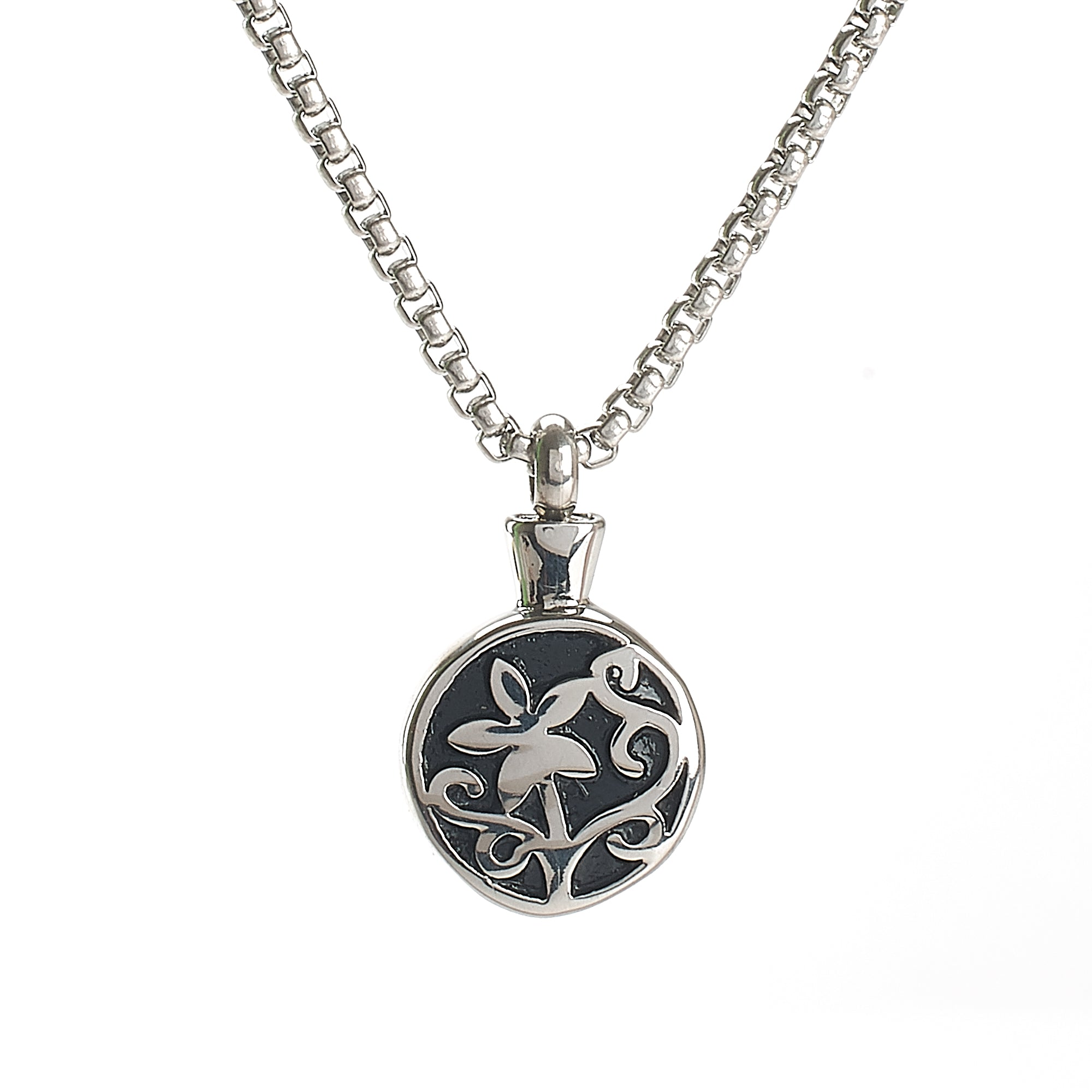 Cremation Pendant - Round Silver/Black Flower Design