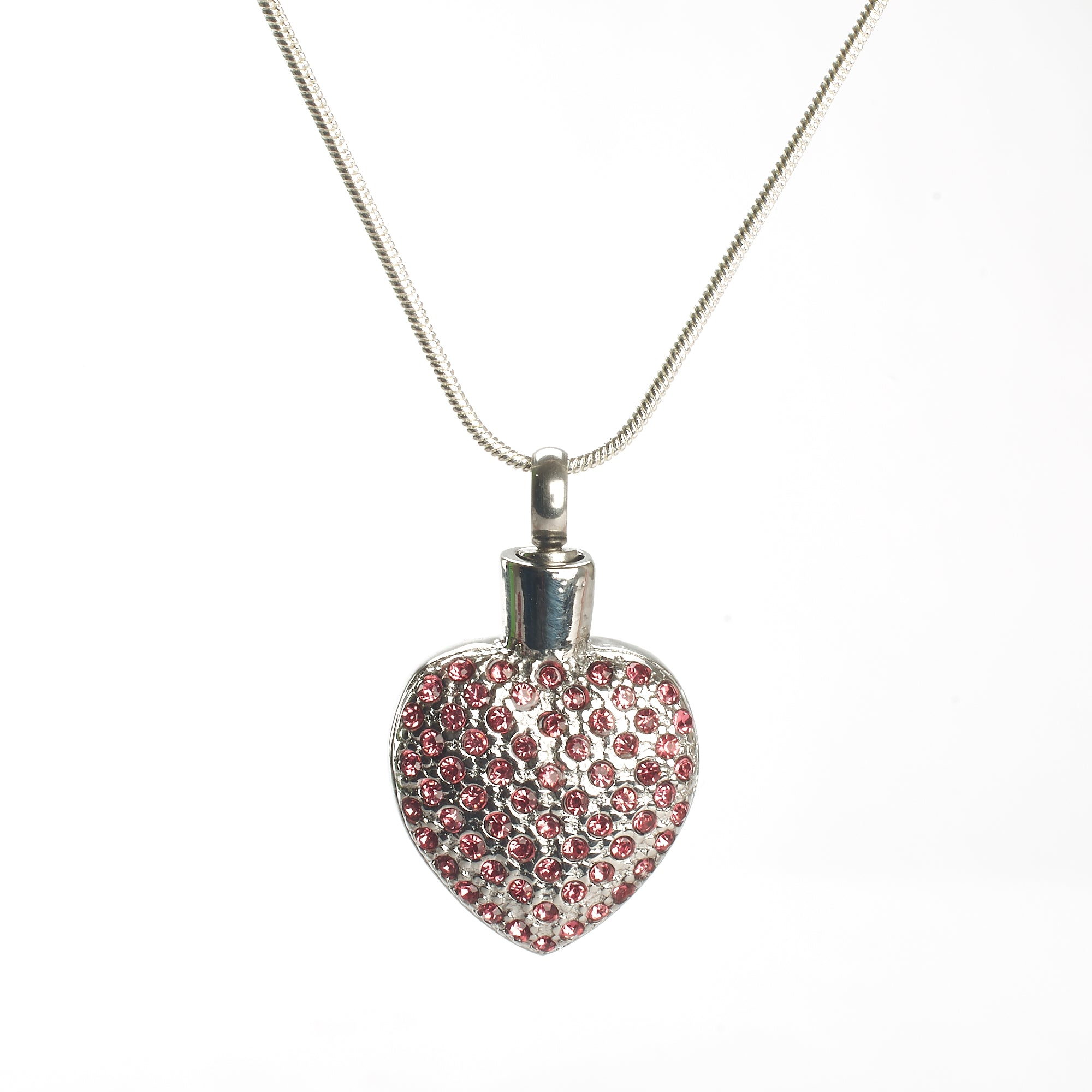 Cremation Pendant - Pink Diamante Stone Heart