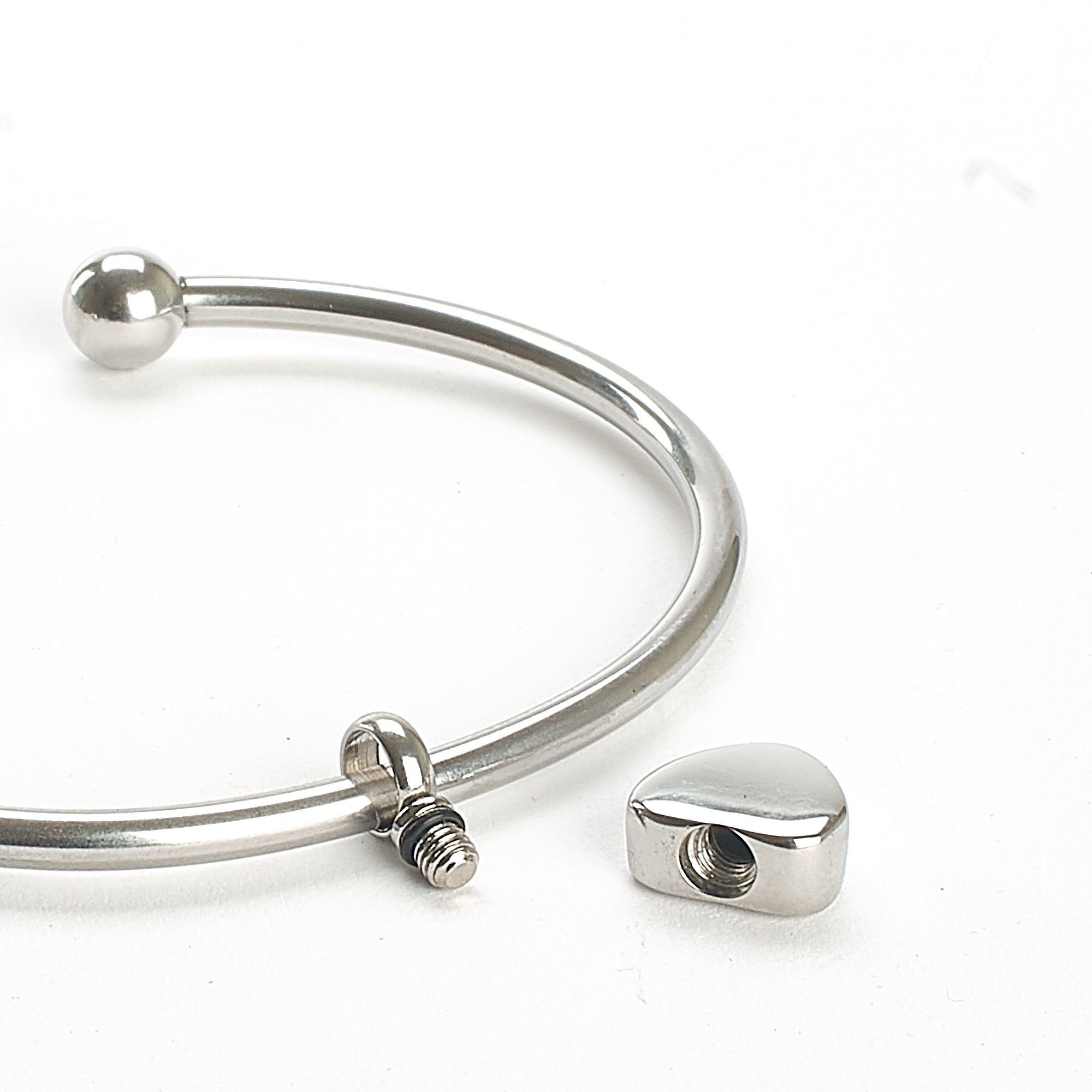 Cremation Bangle - Silver Bangle with Heart Charm