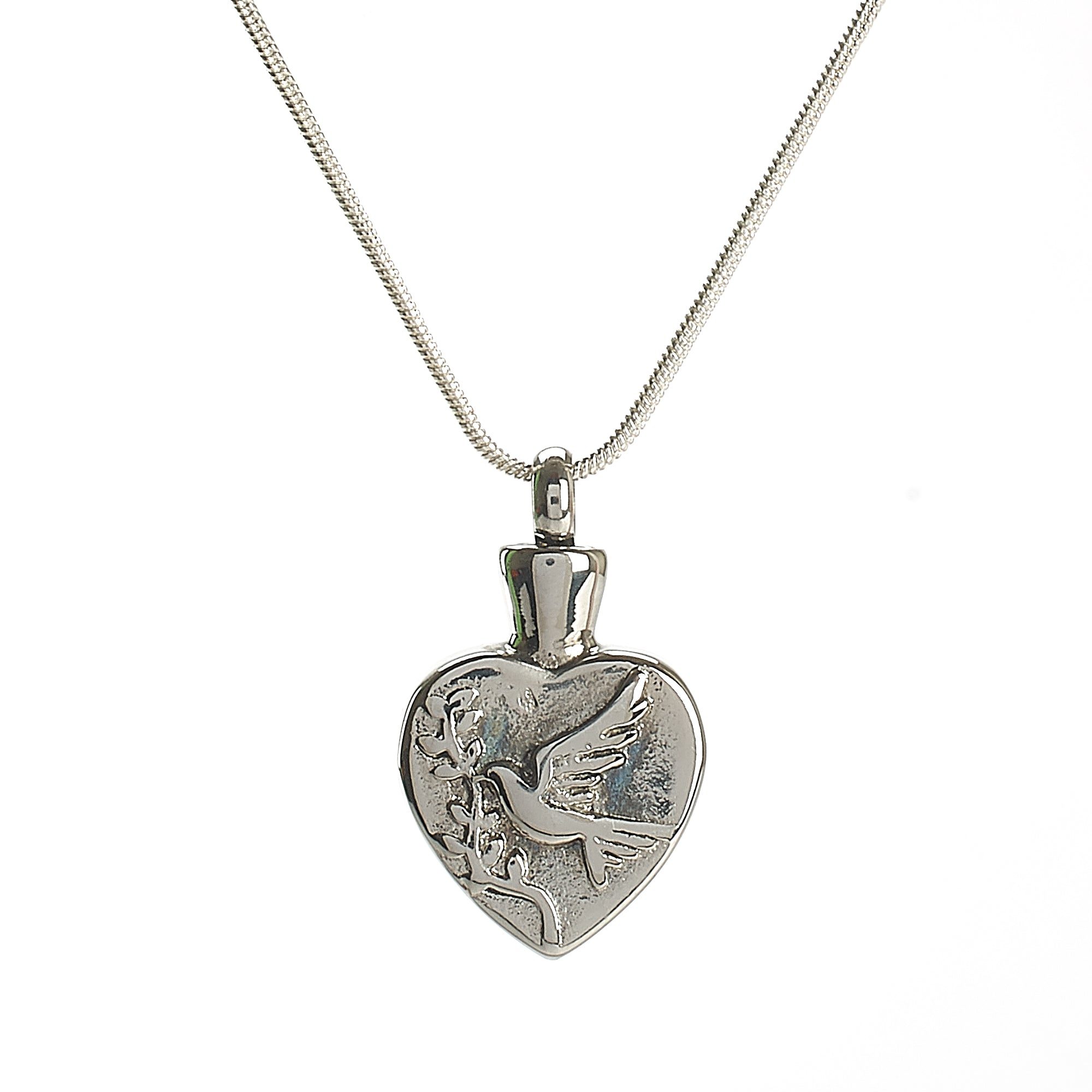 Cremation Pendant - Faith - Heart and Peace Dove/Olive Branch Etching