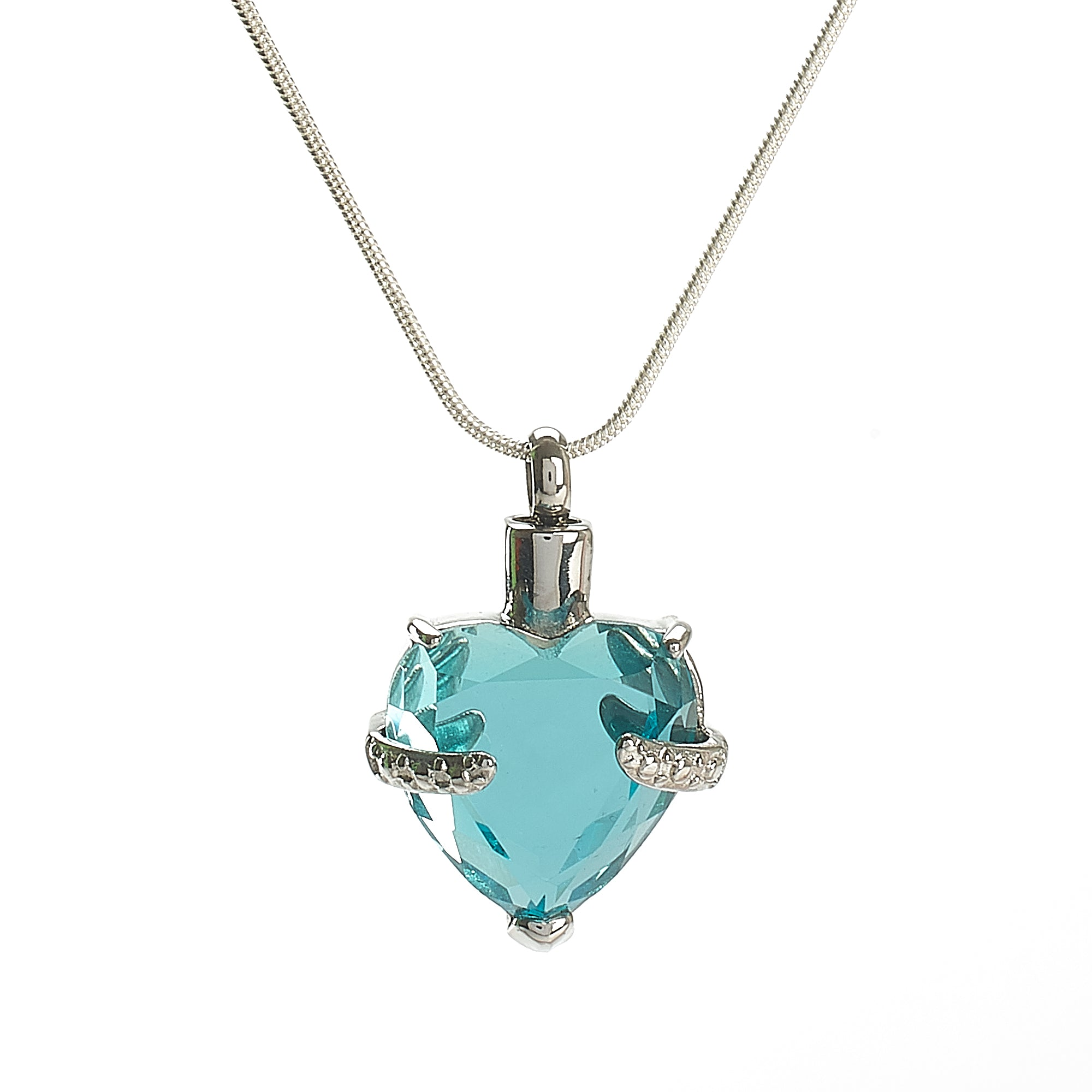 Cremation Pendant - Glass Heart Aqua Blue