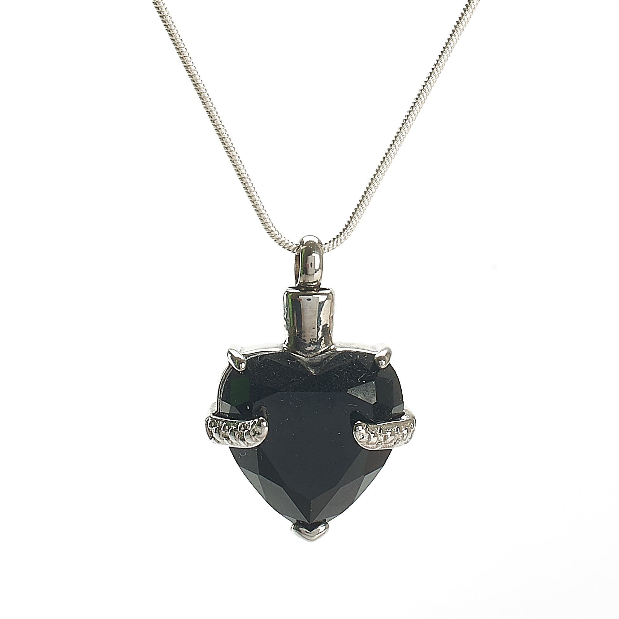 Cremation Pendant - Glass Heart - Black