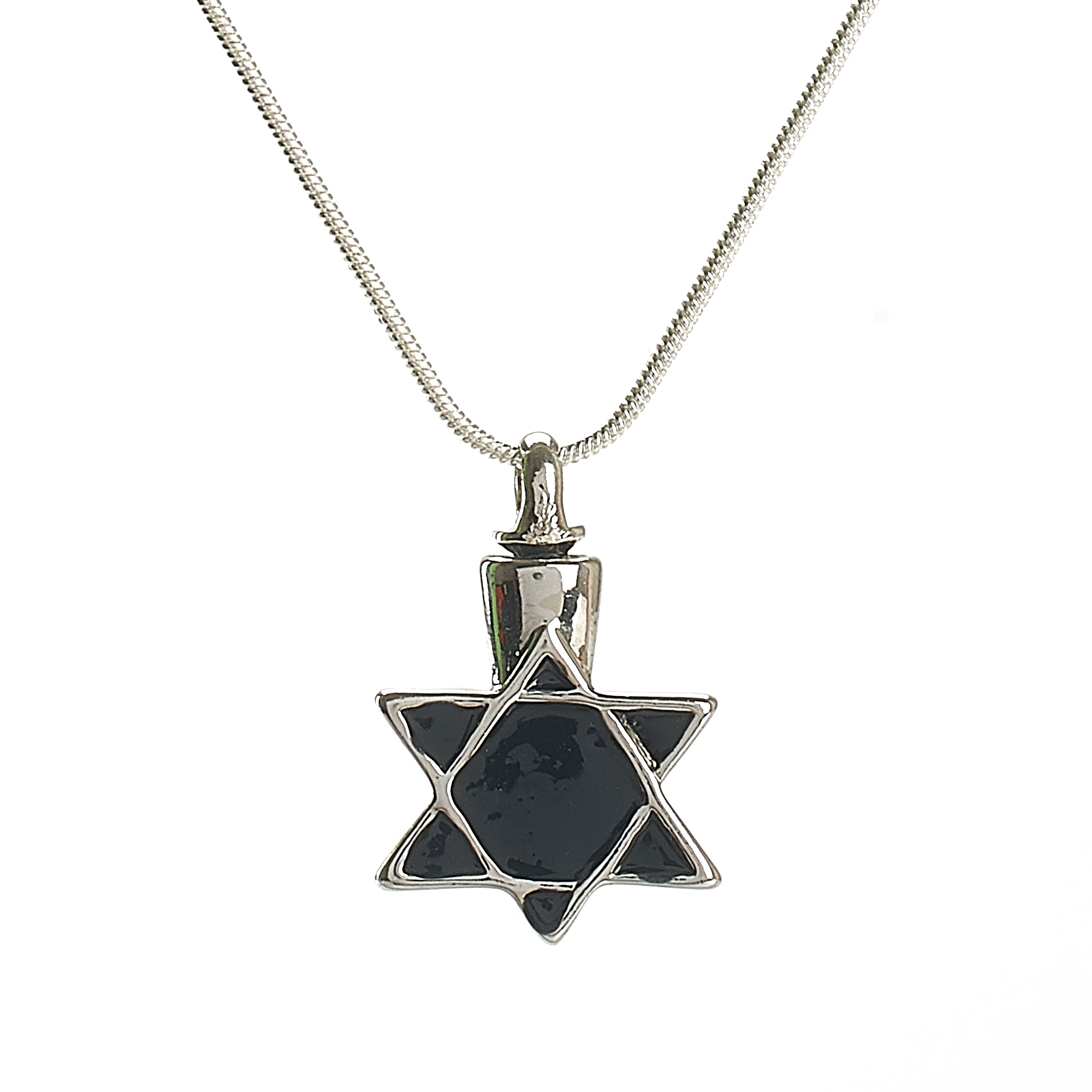 Cremation Pendant - Faith - Jewish Star of David Black/Silver