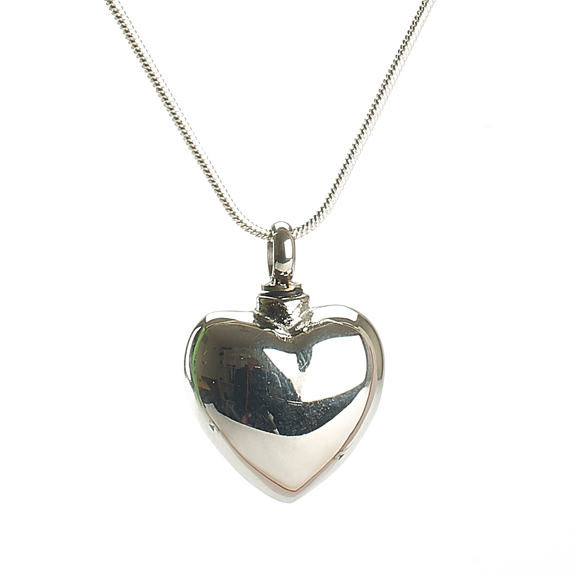 Cremation Pendant - Rounded High Shine Heart