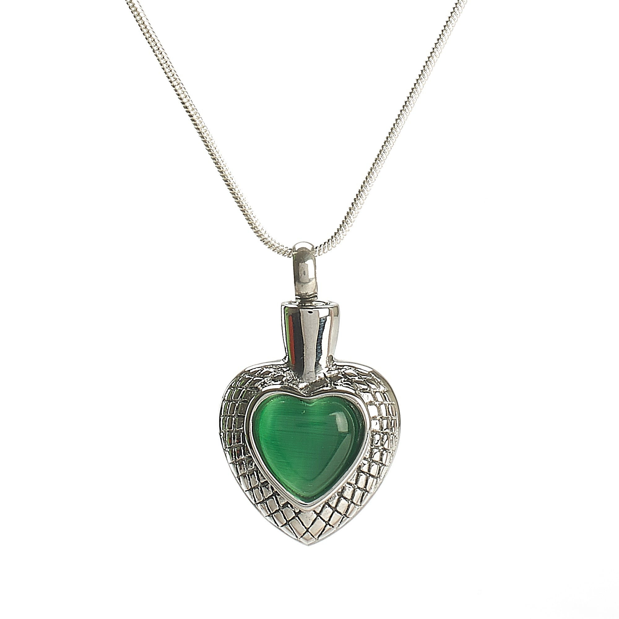 Cremation Pendant - Small Celtic Heart - Green