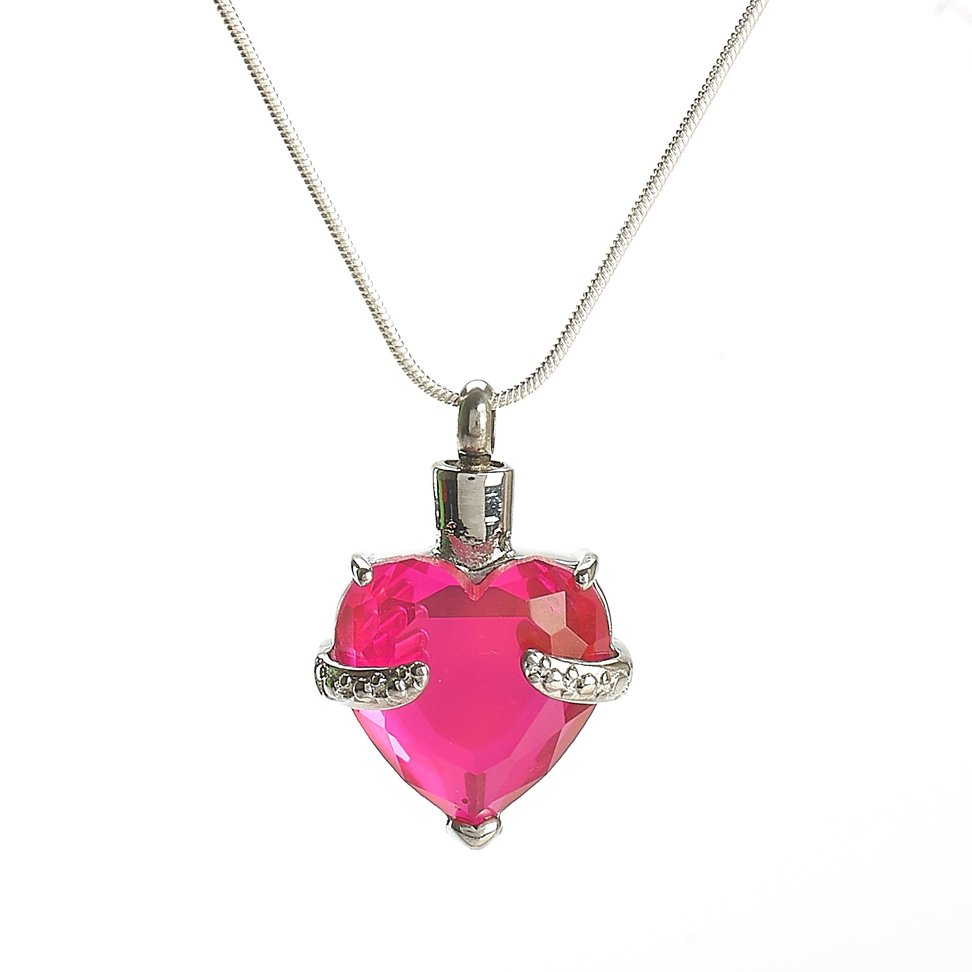 Cremation Pendant - Glass Heart Bright Pink
