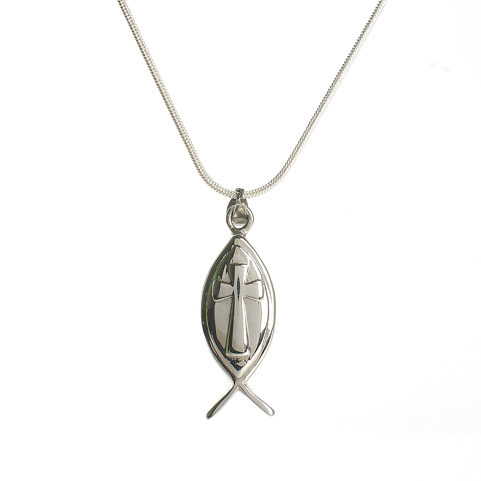 Cremation Pendant - Faith - Christian Cross within Fish