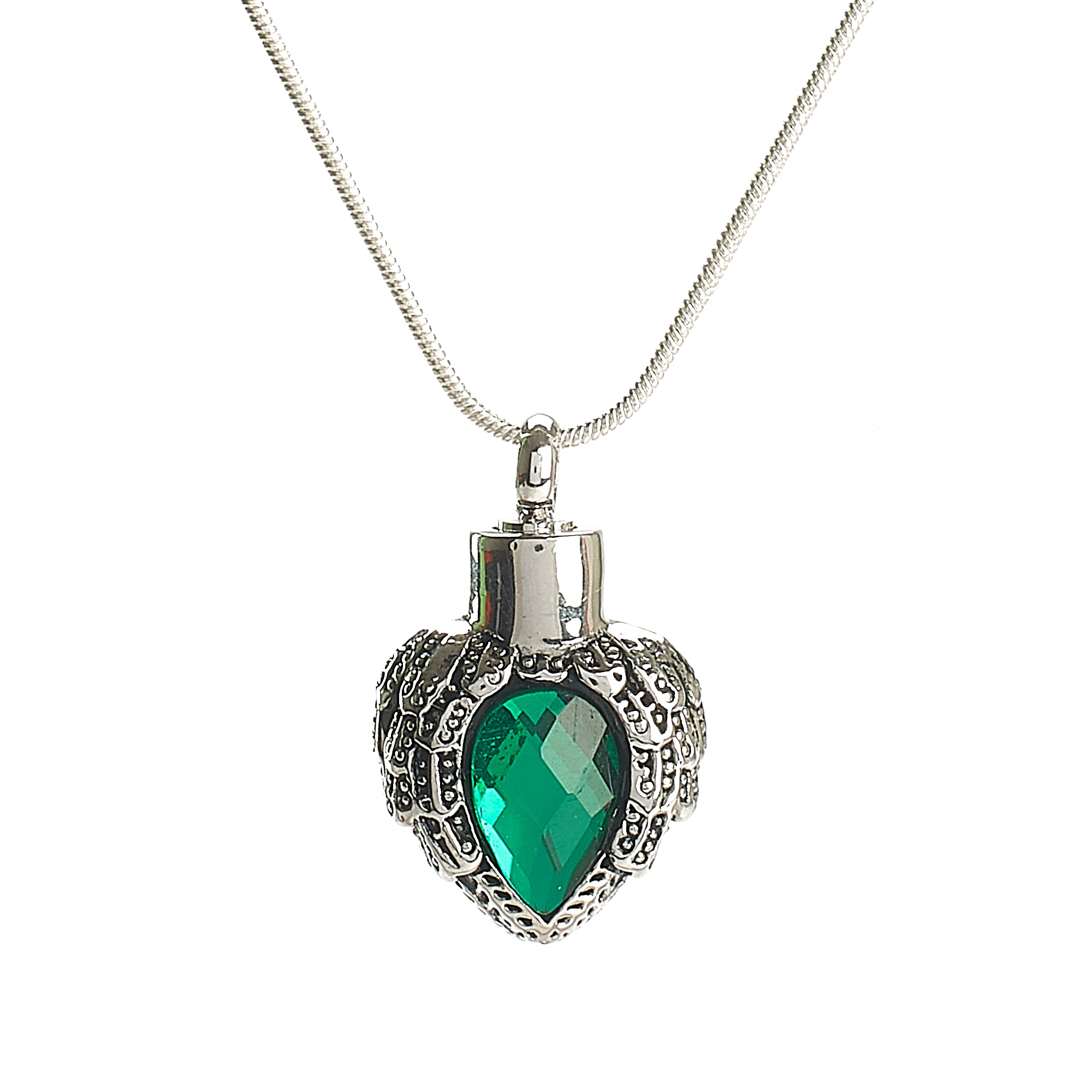 Cremation Pendant - Chariot Angel Wings - Green and Silver