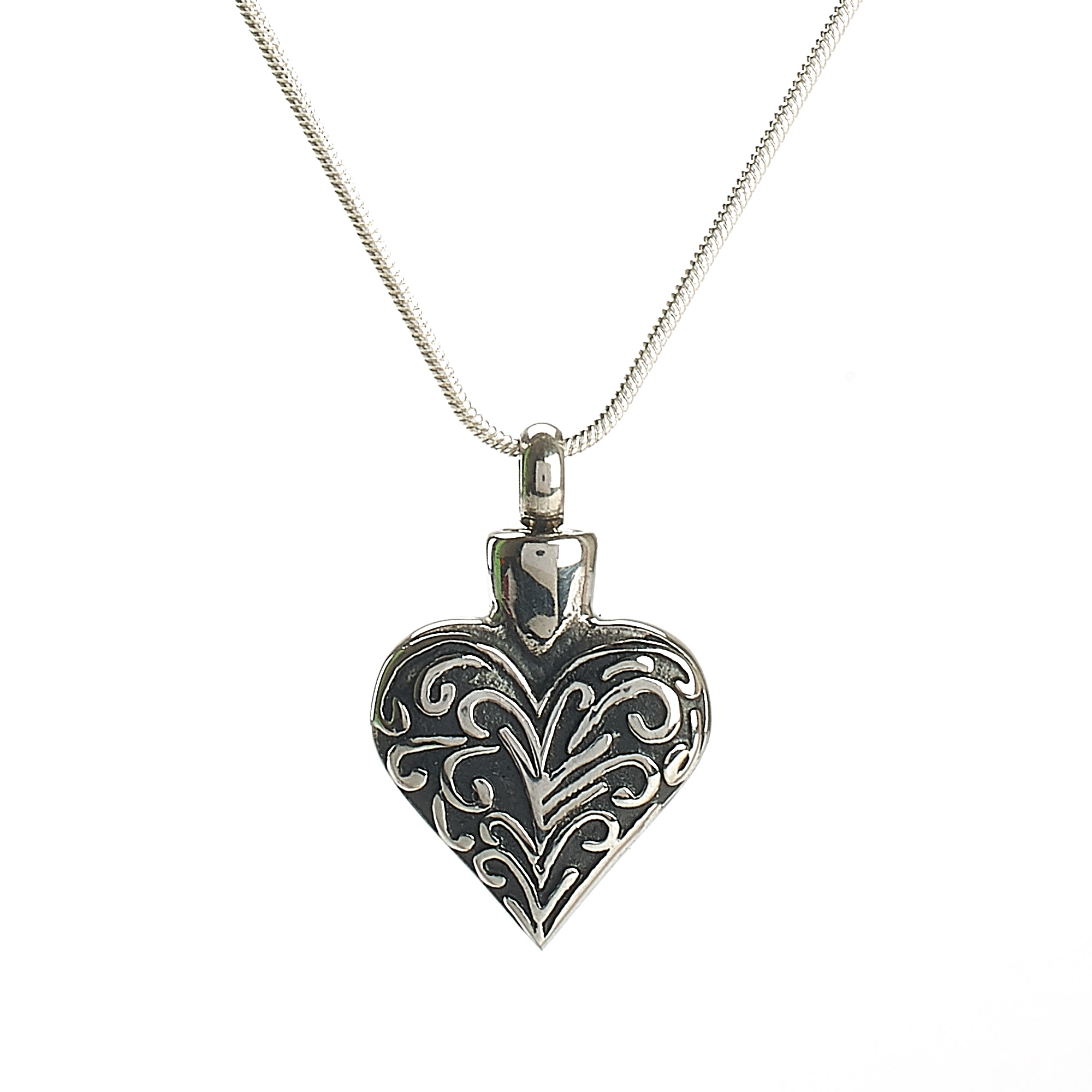 Cremation Pendant- Silver Heart with Black Accents