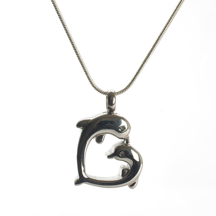 Cremation Pendant - A Heart Created by Two Dolphins