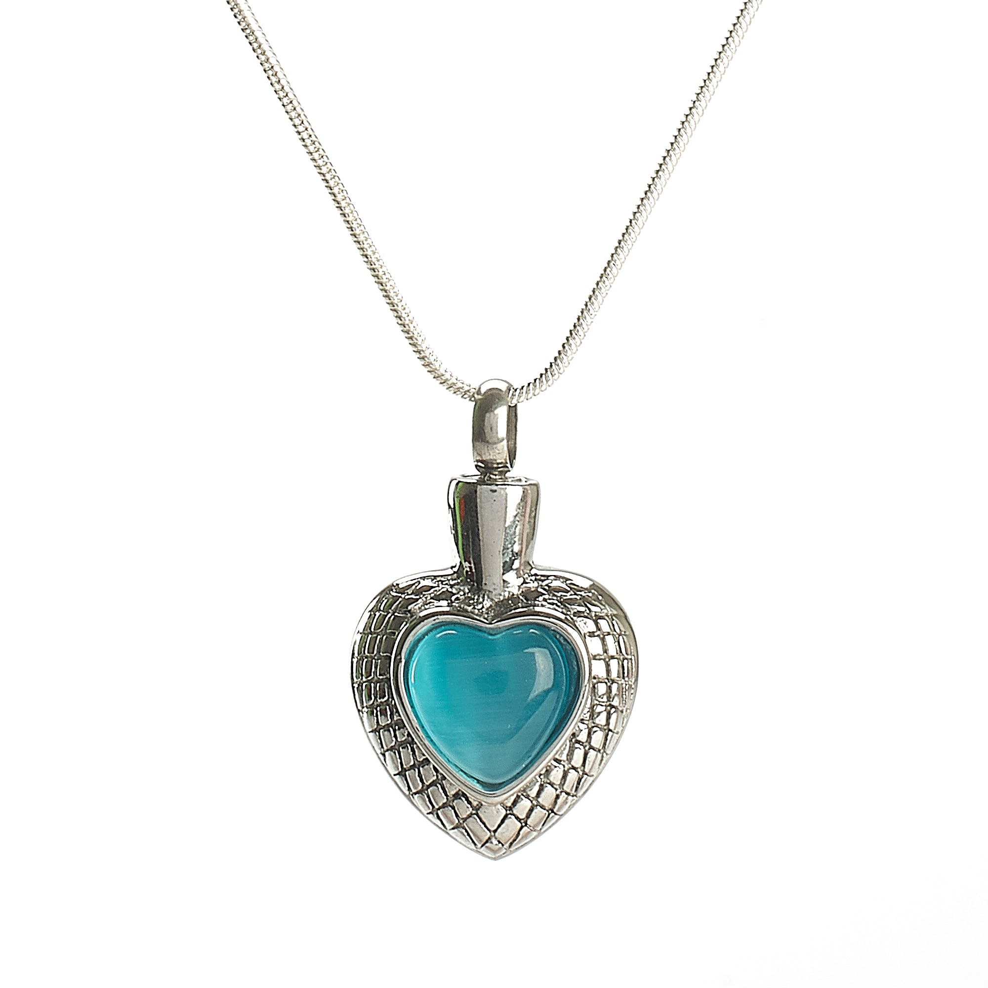 Cremation Pendant - Small Celtic Heart Stone - Blue