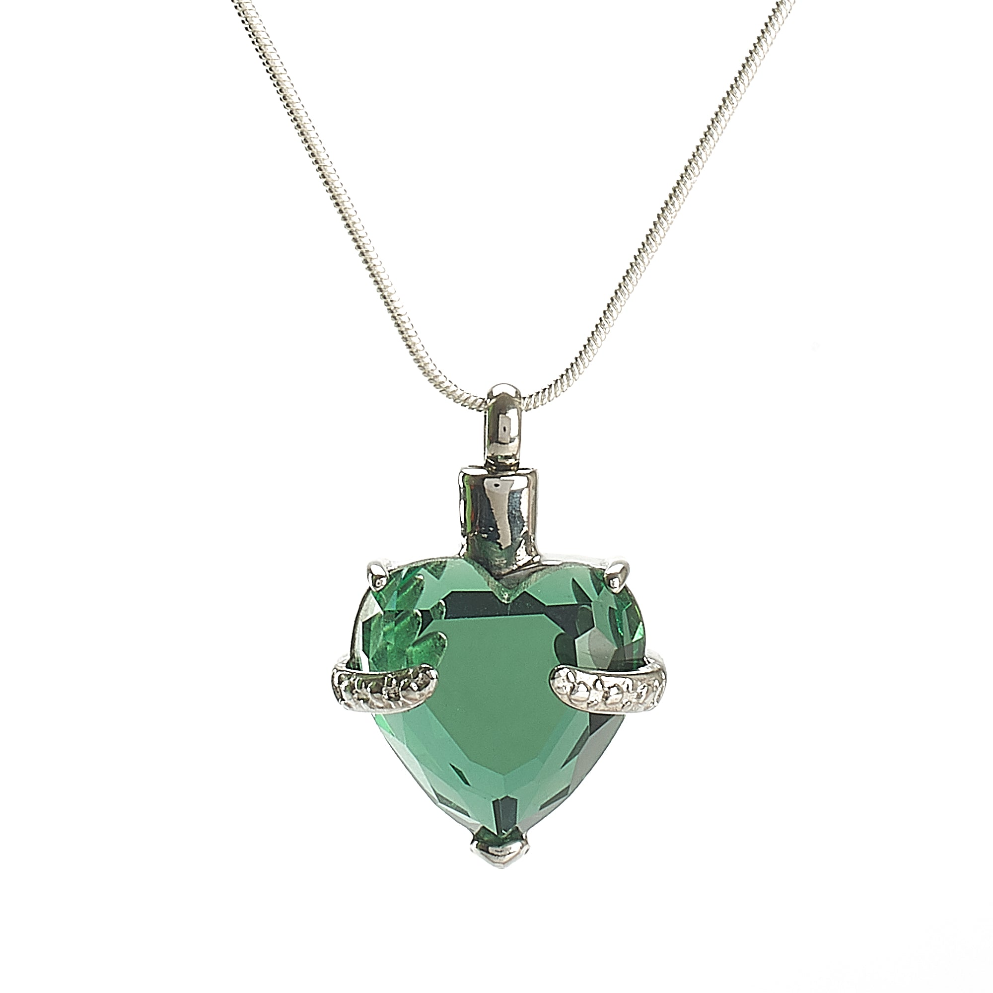 Cremation Pendant - Glass Heart - Apple Green