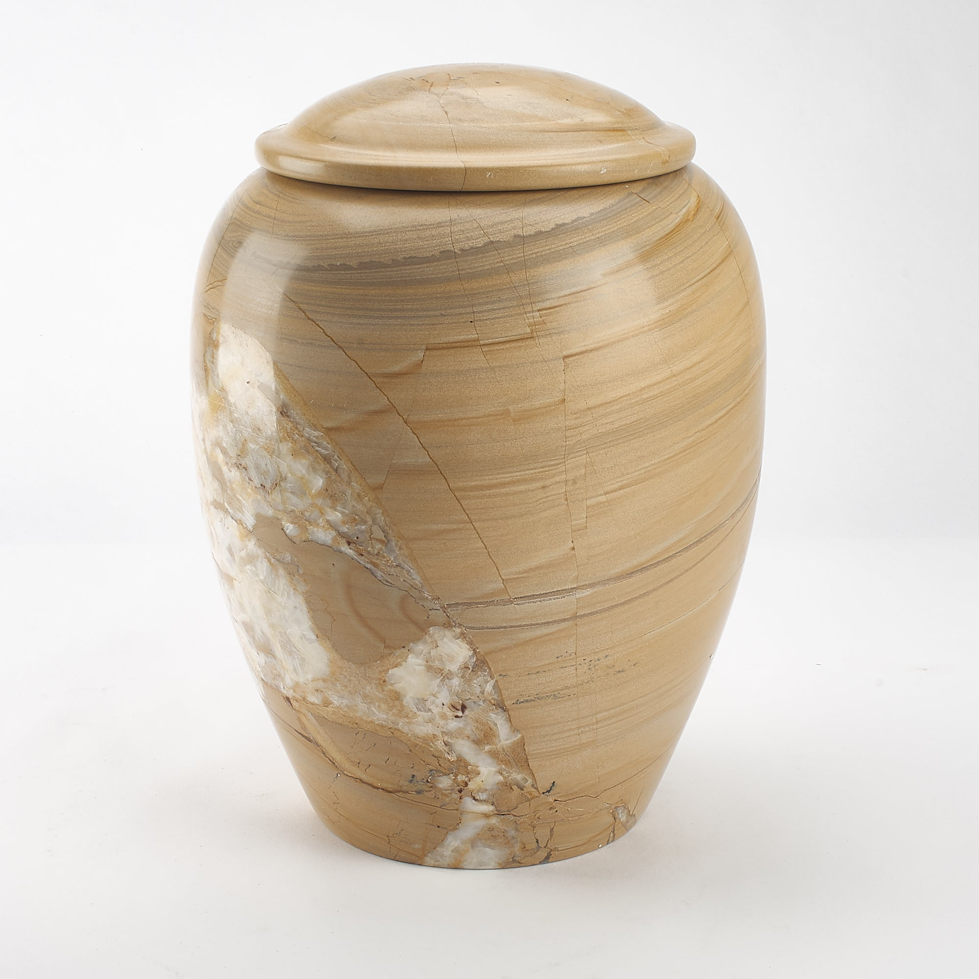 Cremation Urn - Large Mixed Vein Burma Teak Marble