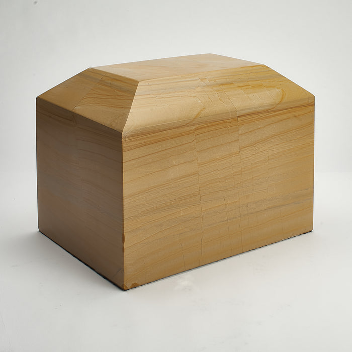 Cremation Urn - Large Luxury Burma Teak Marble Beveled Rectangle
