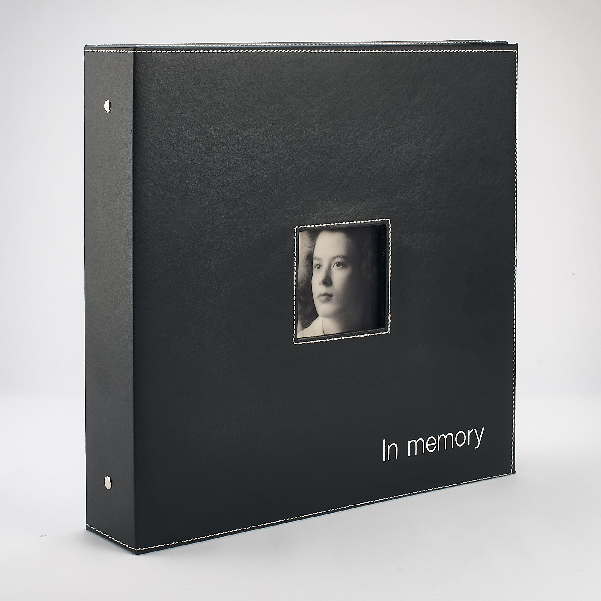 Genuine Leather 'In Memory' Book Box - Black