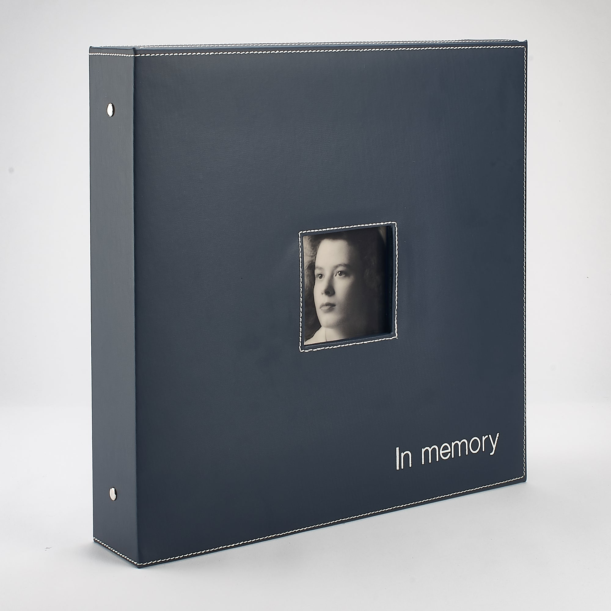 Genuine Leather 'In Memory' Book Box - Navy