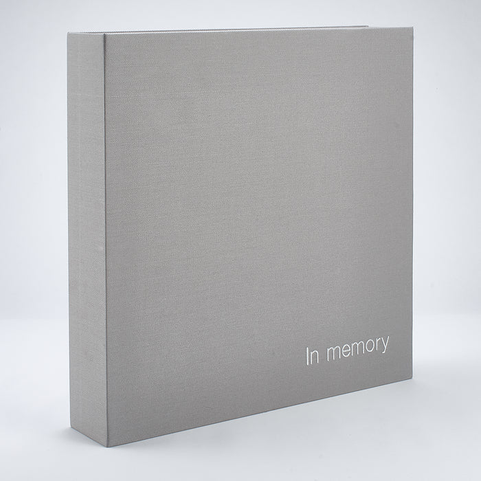 Linen 'In Memory' Book Box - Grey/Beige