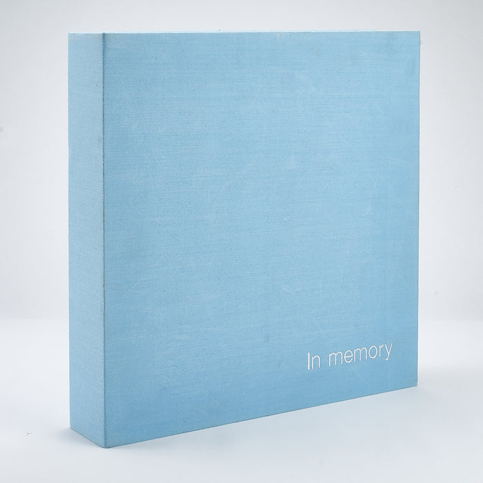 Linen 'In Memory' Book Box - Blue