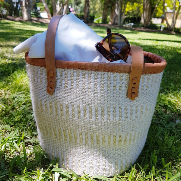 Agent of Trade - Kiondo Basket in Natural + White - Agent of Trade