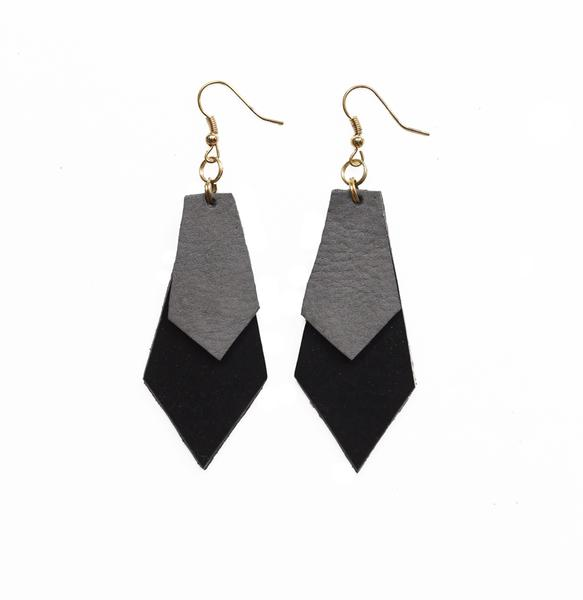 Handcut Leather Earrings - Diamonds