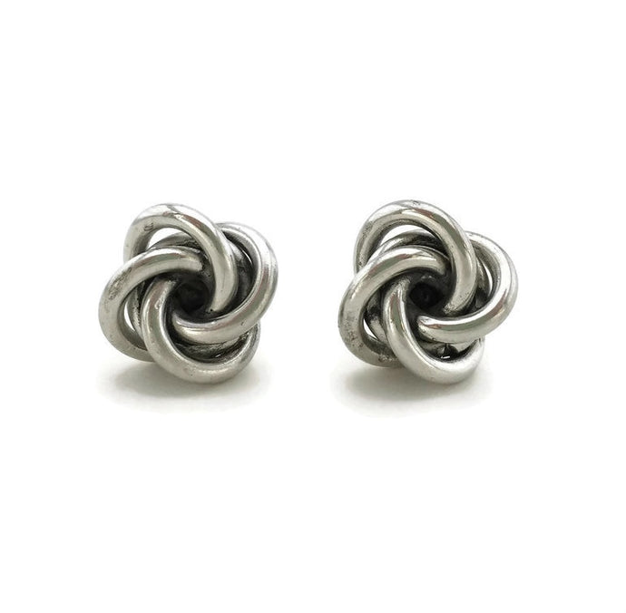 Knotted Stud Earrings - Silver