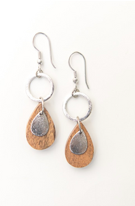 Wooden Teardrop Earrings - Silver