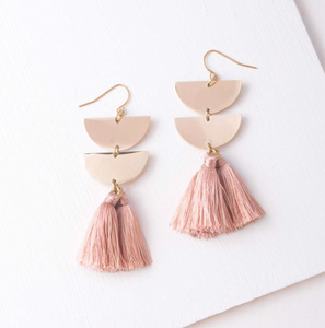 Lacy Pink Tassel Earrings