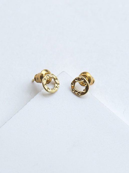 Simple Circle Studs - Brass