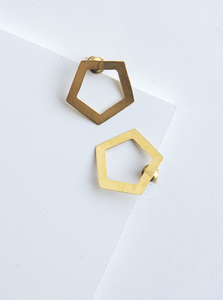 Pentagon Earrings - Brass