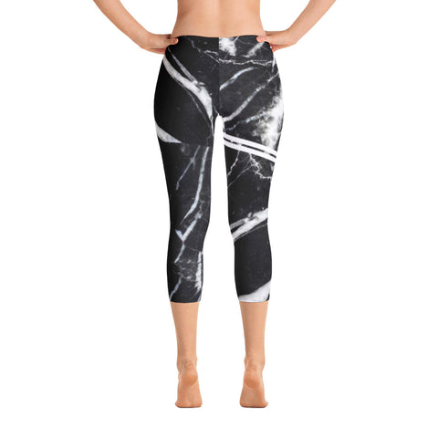 ALLsoPURE Black Marble Capri Leggings