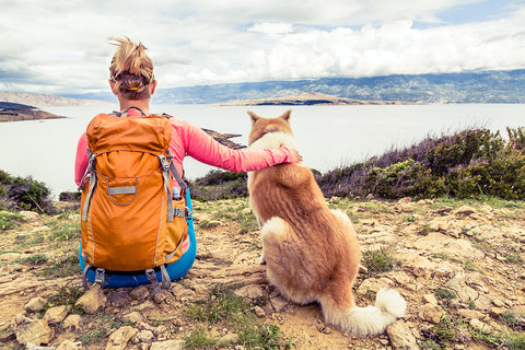 Woman hiker with dog