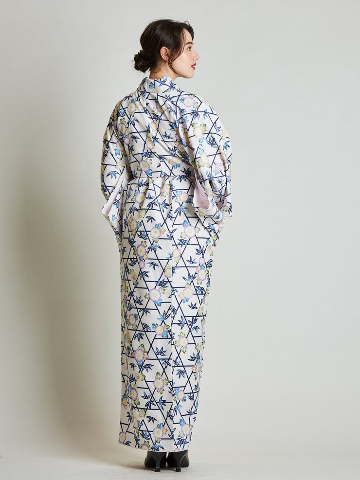 Kiku Floral Japanese Kimono with Rope Belt rear view