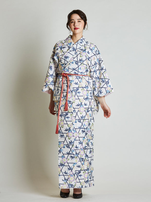 Kiku Floral Japanese Kimono with Rope Belt front view