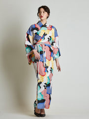Tancho Crane Japanese Kimono with Rope Belt front view