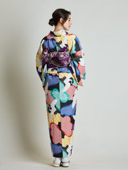 Women's kimono with Reversible Sakura Purple Obi Belt rear view