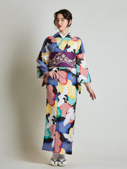Tancho Crane Japanese Kimono with Purple Obi Belt front view