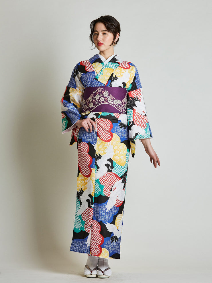 Women's kimono with Reversible Sakura Purple Obi Belt front view