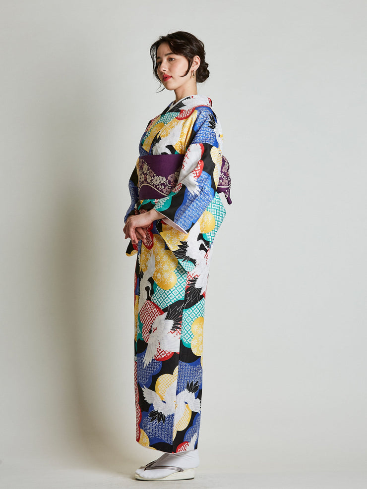 Tancho Crane Japanese Kimono with Purple Obi Belt side view