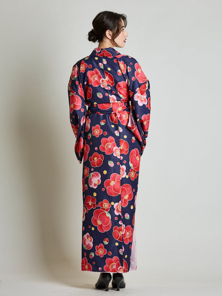 Camellia Floral Japanese Kimono with Rope Belt rear view