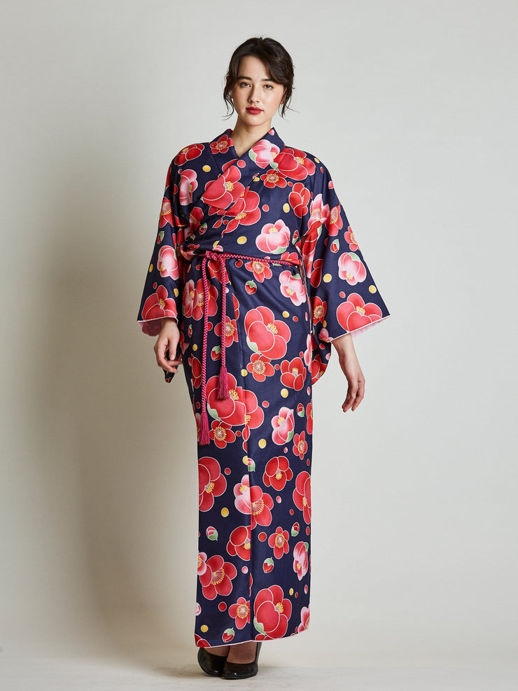 Camellia Floral Japanese Kimono with Rope Belt front view