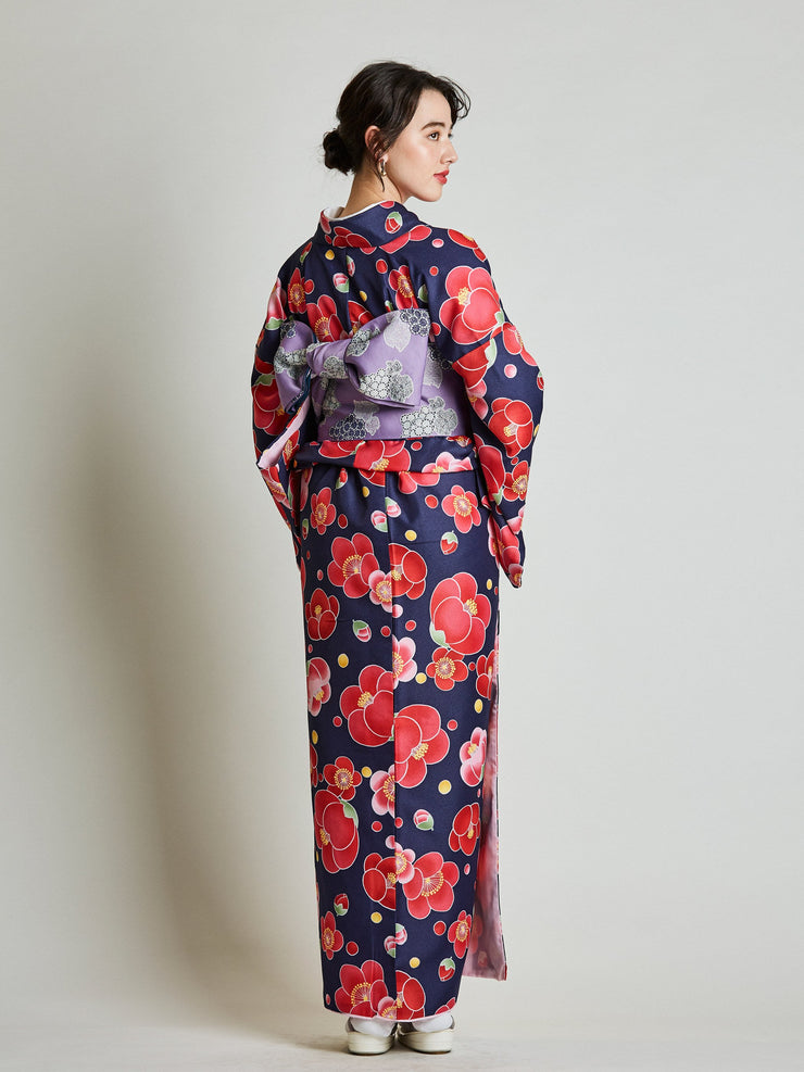 Camellia Floral Japanese Kimono with Purple Obi Belt rear view