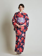 Camellia Floral Japanese Kimono with Purple Obi Belt front view