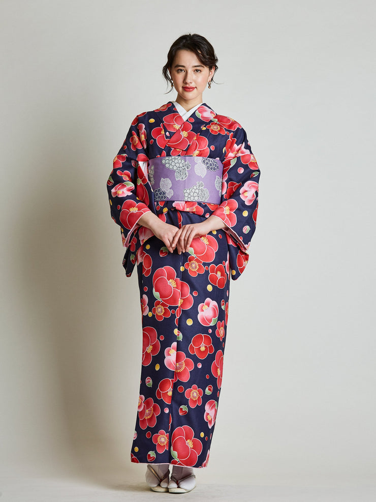 Red Kimono with Reversible Grapevine Purple Obi Belt front view