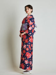 Camellia Floral Japanese Kimono with Purple Obi Belt side view