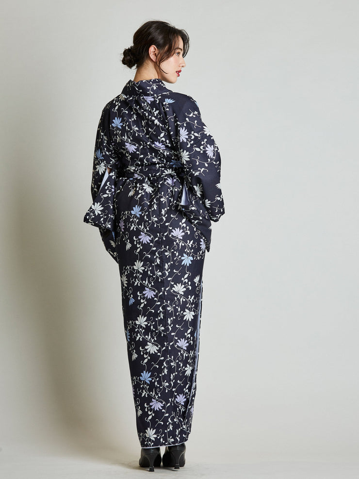 Konsho Floral Navy Blue Kimono with Rope Belt rear view