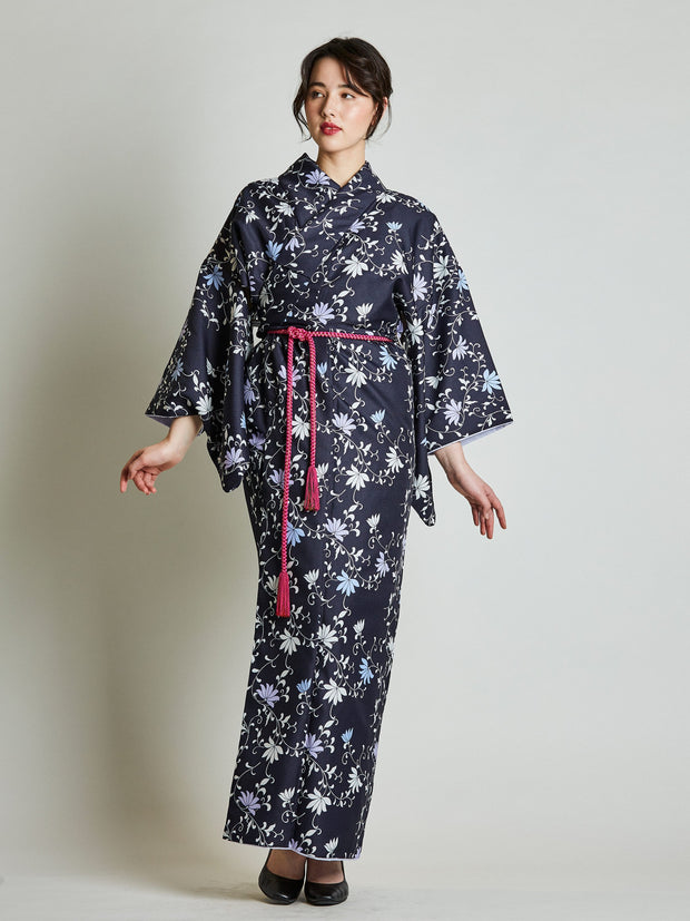 Konsho Floral Navy Blue Kimono with Rope Belt front view
