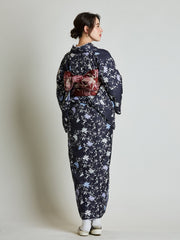 Konsho Floral Navy Blue Kimono with Burgundy Obi Belt rear view
